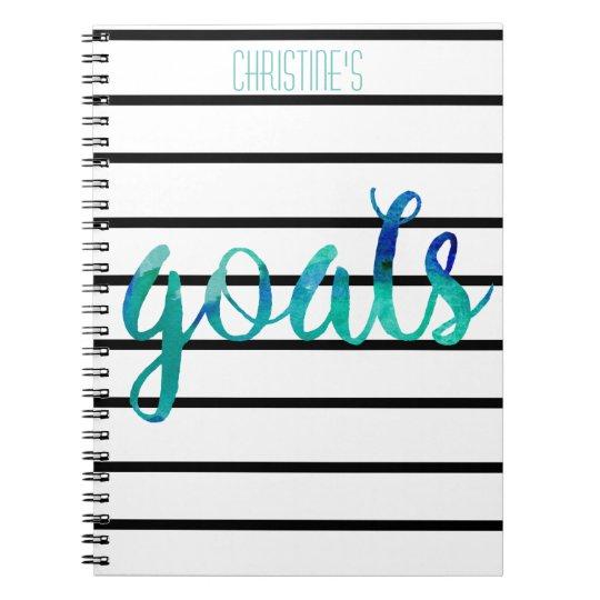 Personalised Watercolor Goals Trendy Black Stripe Notebook