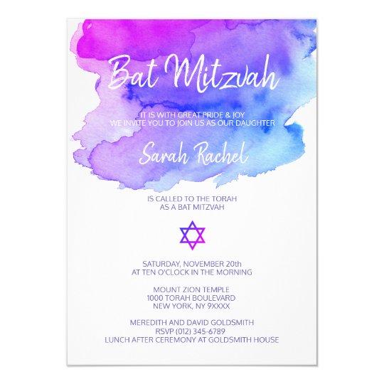 Personalised Watercolor Purple Blue Bat Mitzvah Card