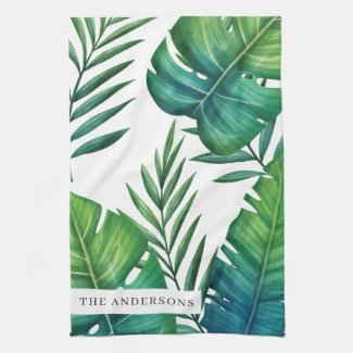 Personalised Watercolor Tropical Leaves Tea Towel