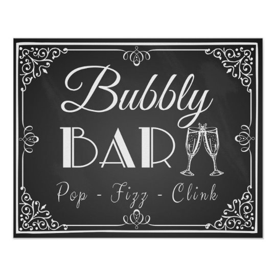 "Personalised Wedding ""Bubbly Bar"" sign chalkboard"