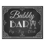 personalised wedding bubbly bar sign chalkboard poster