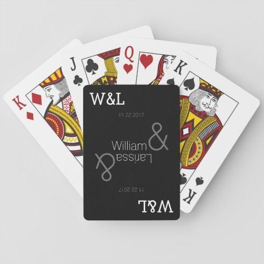 personalised wedding couple names / black poker deck