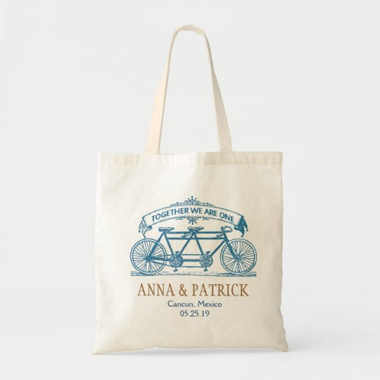 Personalised Wedding Gift Tandem Bicycle Tote Bag