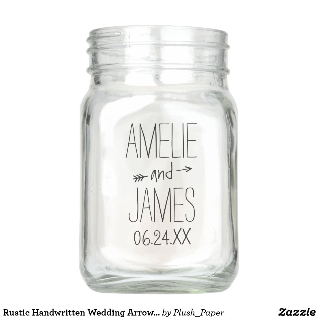 Personalised Wedding Mason Jar | Rustic Monogram