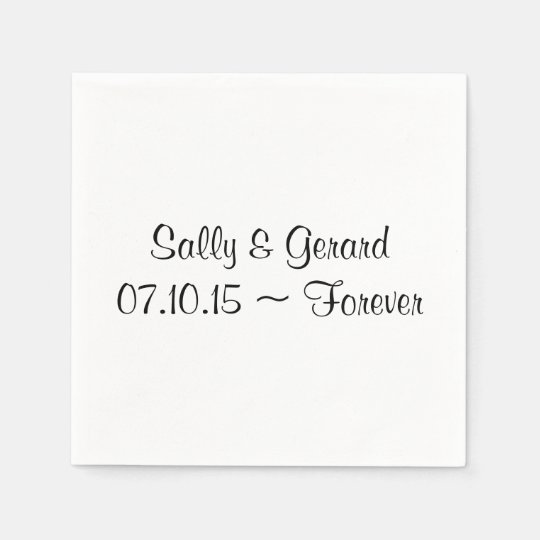 Personalised Wedding Napkin White Back Black Text Disposable Serviettes