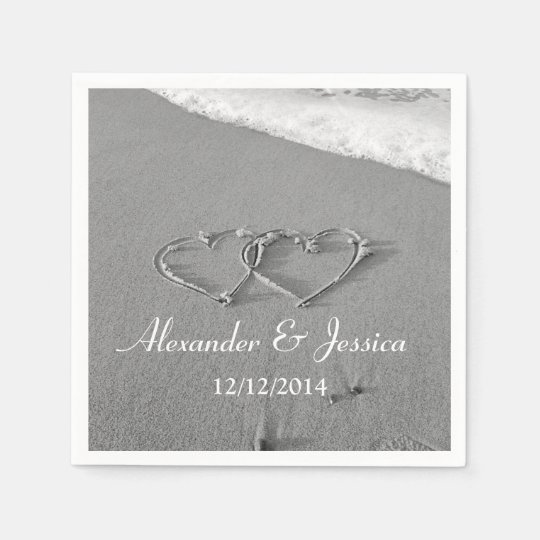 Personalised wedding napkins | drawn heart in sand