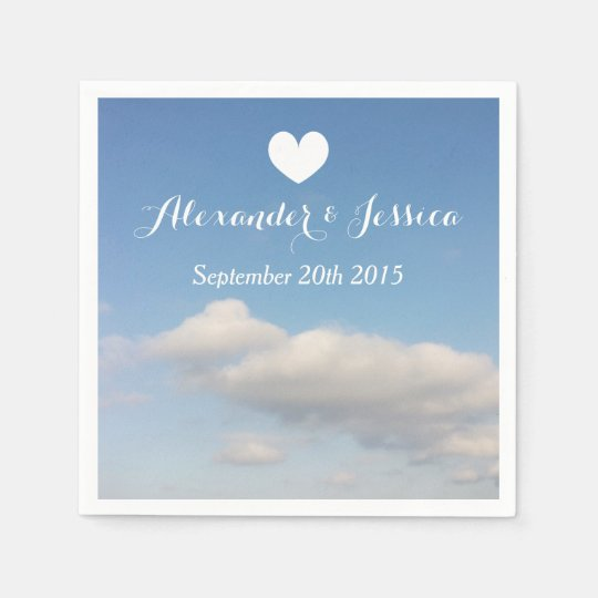Personalised wedding napkins   white clouds sky paper