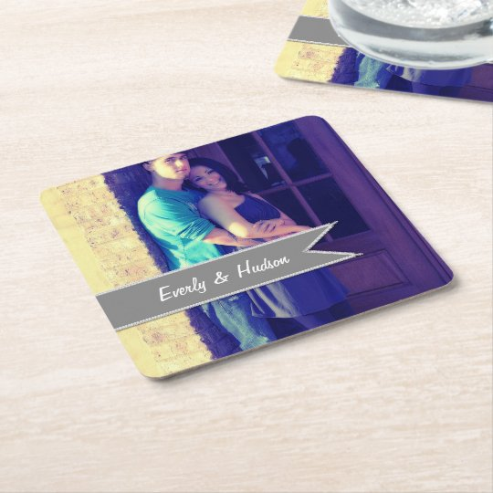 Personalised Wedding Photo Grey Modern Tag Square Paper