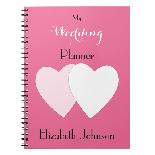 Personalised Wedding planner hot pink Notebook