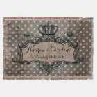 Personalised Wedding Royal Crown on Dots Throw