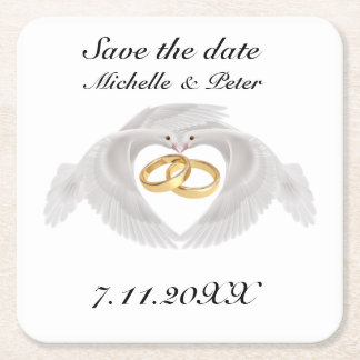"Personalised Wedding ""Save The Date"" Square Paper Coaster"