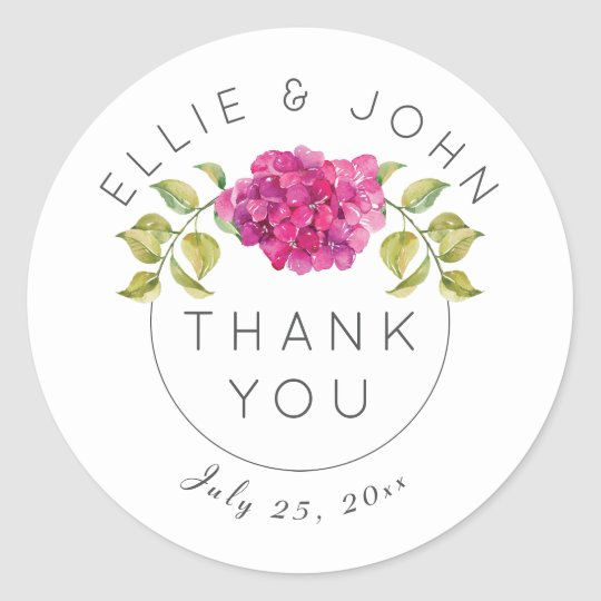 Personalised Wedding Thank You Hot Pink Hydrangea Classic