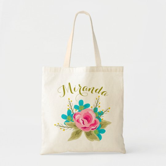 Personalised wedding tote bag with floral print