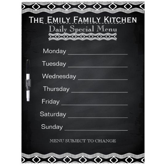 Personalised Weekly Dinner Menu Black Chalkboard Dry Erase