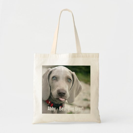 Personalised Weimaraner Dog Photo and Dog Name Tote