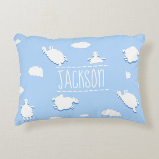 Personalised Whimsical Clouds and Sheep Pattern Decorative Cushion