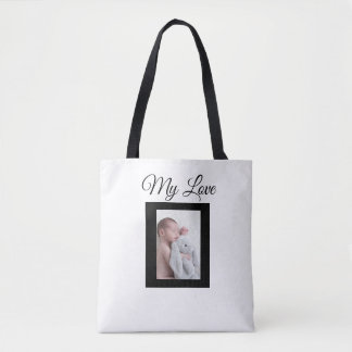 Personalised white and black baby photo Tote Bag