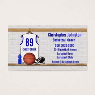 Jersey business cards business card printing zazzle uk personalised white and blue basketball jersey business card reheart Images