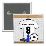 Personalised White Black Football Soccer Jersey 15 Cm Square Badge