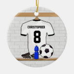 Personalised White Black Football Soccer Jersey Round Ceramic Decoration