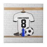 Personalised White Black Football Soccer Jersey Small Square Tile
