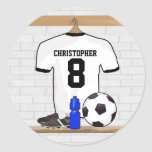 Personalised White | Black Football Soccer Jersey Round Stickers