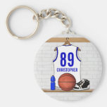 Personalised white Blue Basketball Jersey