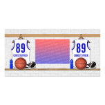 Personalised white Blue Basketball Jersey Picture Card