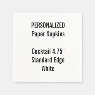 Personalised White Cocktail Paper Napkins
