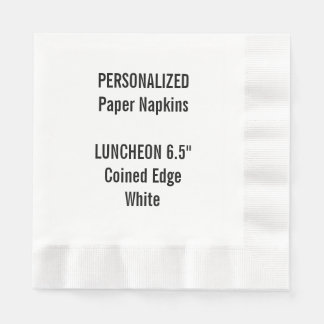 Personalised White Coined LUNCHEON Paper Napkin
