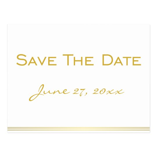 Personalised White Gold Save The Date Postcards