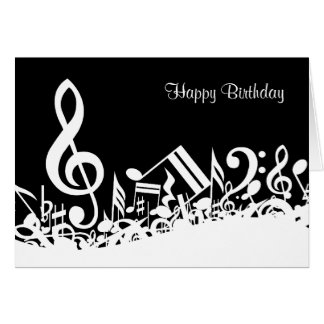 Personalised White Jumbled Musical Notes on Black Greeting Card