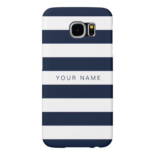 Personalised White & Navy Blue Striped Samsung Galaxy S6 Cases
