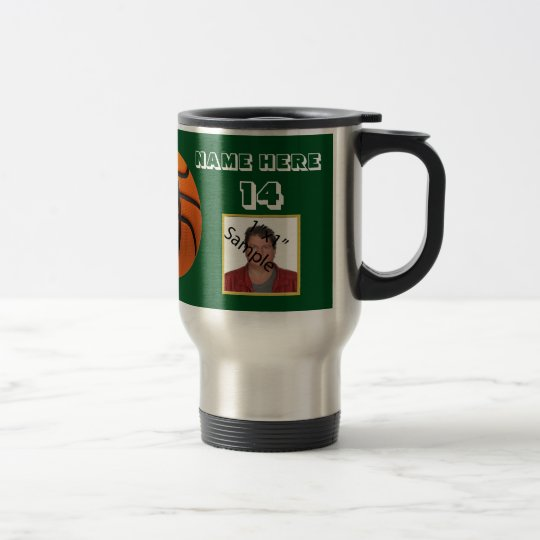 Personalised White Text basketball Photo Tumbler Travel Mug