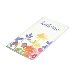 Personalised Wild Flowers Colourful Pocket Journal