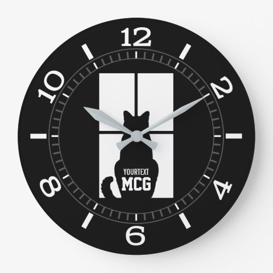 Personalised Window Black Cat Dial on a Large