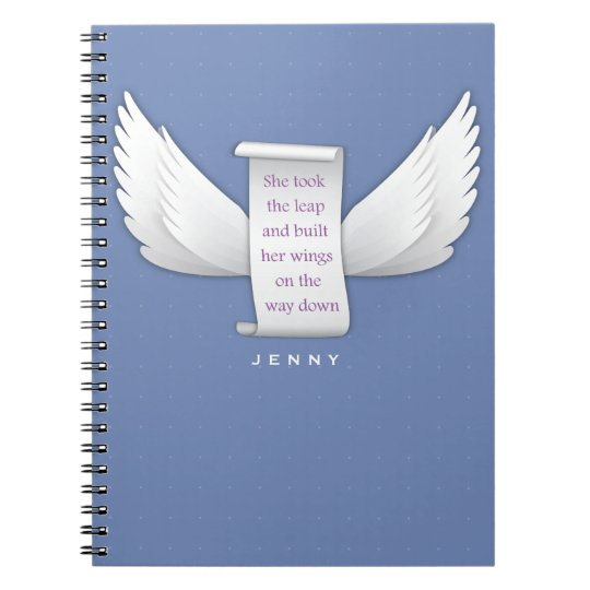 Personalised Wings of Love Inspirational Quote Notebooks