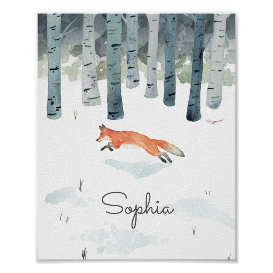 Personalised Winter Fox Poster