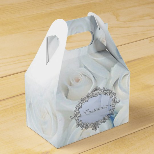Personalised Winter White Roses Gable Favour Box