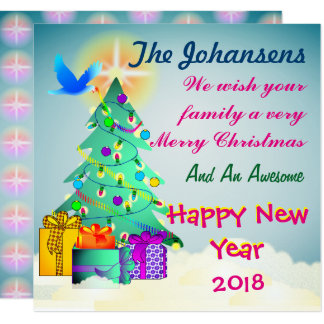 Personalised Wishing Your Family A Merry Christmas Card