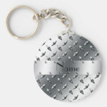Personalised with your name diamond plate steel keychains