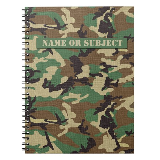 Personalised Woodland Military Camouflage Notebook