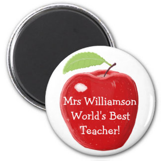 Personalised World's Best Teacher's Apple Painting 6 Cm Round Magnet