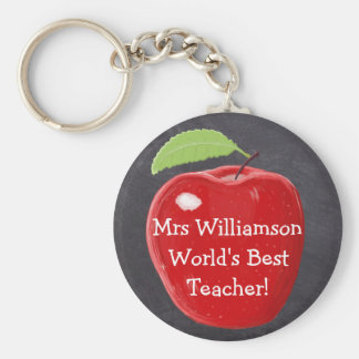 Personalised World's Best Teacher's Apple Painting Basic Round Button Key Ring