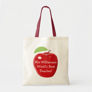 Personalised World's Best Teacher's Apple Painting Budget Tote Bag