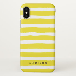 Personalised Yellow and White Brushed Stripe iPhone X Case
