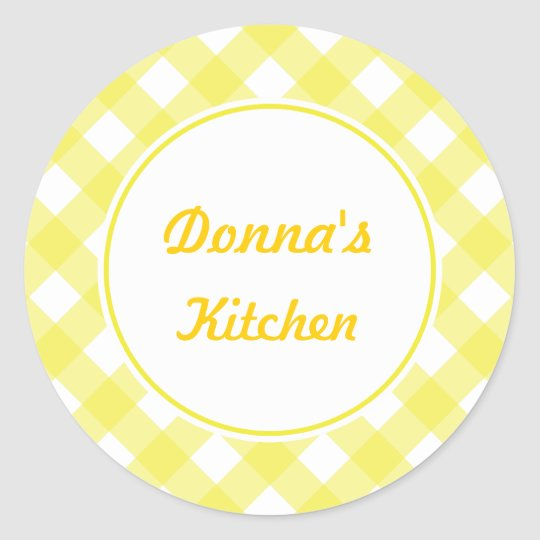 Personalised Yellow Gingham Stickers