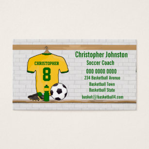 Jersey business cards business card printing zazzle uk personalised yellow green football soccer jersey business card reheart Images