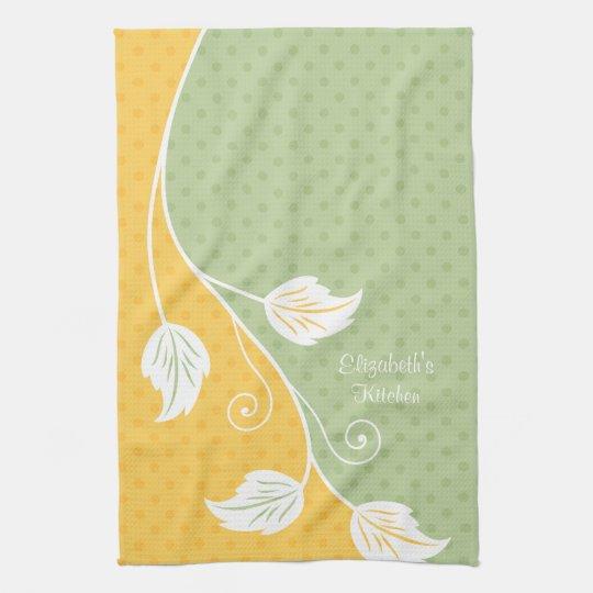 Personalised Yellow Green Polka Dot Floral Vine Tea