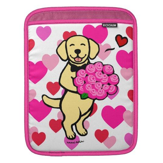 Personalised Yellow Labrador Cartoon Roses iPad Sleeve